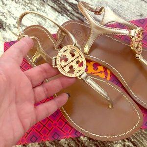 Tory Burch Violet Metallic Thong Sandals